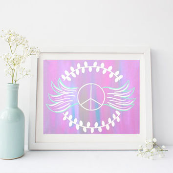 Purple peace sign wings  wall art print poster for baby nursery, girls room, apartment, dorm room, or home decor