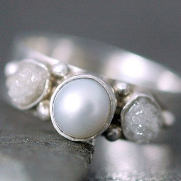 $320.00 Rough Diamond and Pearl Engagement Band Custom Made by Specimental