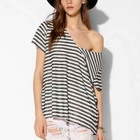 Project Social T Striped Textured-Knit V-Neck Tee