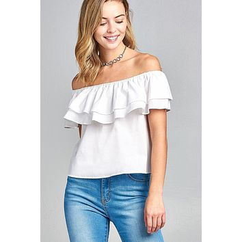 Ladies fashion double ruffle flounce off the shoulder cotton top