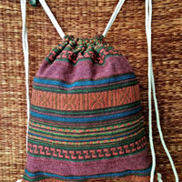 Red Tribal Boho Backpack Ikat Festival Drawstring Bags Ethnic Woven fabric Hippie Styles Rucksack Gypsy Beach Tote Bohemian Luggage men