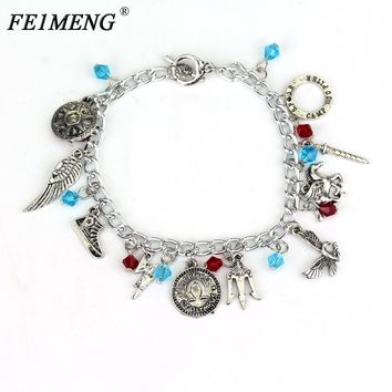 Film Percy Jackson Charm Bracelet Simple Crystal Beads Sea of Monsters Themed Alloy Bracelet For Women Fans Fashion Jewelry Gift