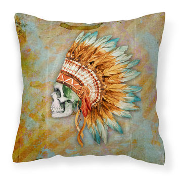 Day of the Dead Indian Skull  Fabric Decorative Pillow BB5127PW1818
