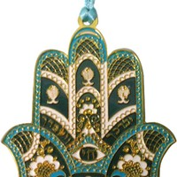 Hanger Hamsa Small Gold Blue Plated