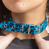 Blue Fuzzy Cheetah Print Buckle Choker