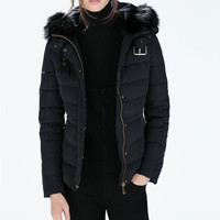 Quilted anorak with fur hood