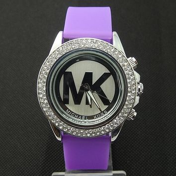 MK Michael Kors men and women new stylish fashion candy strap F-SBHY-WSL Purple Watchband + Silver Dila + Silver Case