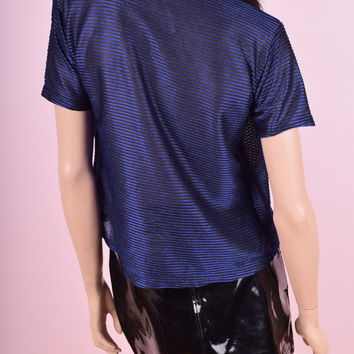 90s Blue Striped Mesh Shirt