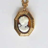 Vintage Cameo Perfume Locket Necklace by fablesandfinery on Etsy