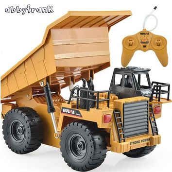 Abbyfrank 2.4G RC Truck 6 Channel Remote Control Dump 4 Wheel Vehicles Realistic Machine Durable Multi-function Toys Kids Gift
