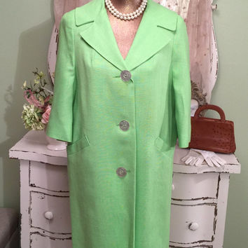 60s Mod Coat  Mint Linen Coat  1960s Vintage Coat  Jackie O Style Coat  Midcentury Clothing  Elegant Coat  Retro Clothing  Size Medium