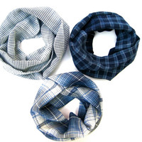 Kids Trio Scarf Set Cotton Plaid Scarves Kid Scarf Child Infinity Scarf Unisex Scarves Navy Blue Light Blue White Gift Idea Ready to Ship