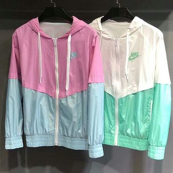NIKE 2018 summer new women's hooded jacket color matching breathable zipper cardigan jacket F-AG-CLWM