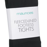 Fleeced Lined Footless Tights - Black