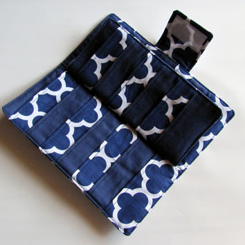 Credit Card Organizer Wallet, Gift Card Holder, women's wallet 38 Credit Card Organizer Quatrefoil in Navy