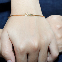 Handcrafted Personalized Name Bracelet- Baby Name Bracelet - Gift For Best Friend - 18K Gold Plated