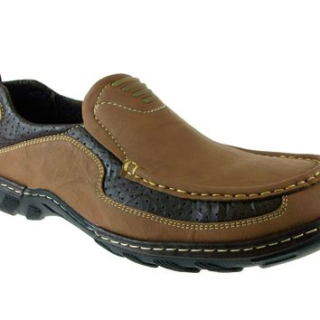 Mens Rocus Comfort Slip On Walking Loafers Shoes WH-01 Light Brown