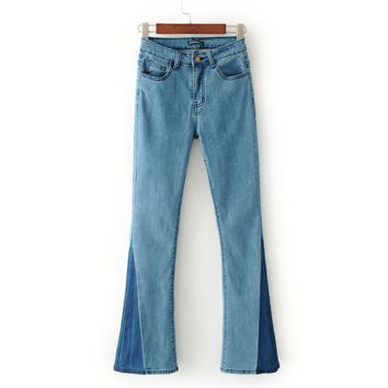 FREE SHIPPING Summer wear new slim waist high - waisted color denim flared trousers