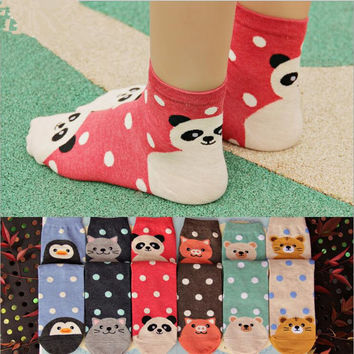 1 pair Women's cute animal Tiger/Cat/Panda cotton Ankle socks novelty kawaii brand warm socks for women/girl calcetines sokken