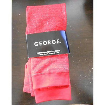 George Girls' Fleece Lined Footless Tights, 12-16, Red Sparkle