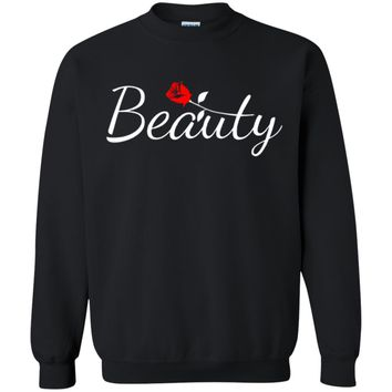 Beauty and Beast Matching Couples Pullover Sweatshirt Sweater, Unisex, S-5XL, Black