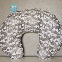 Grey Faded Triangles Nursing Pillow Cover - Nursing Pillow Cover - Triangles Cover - Nursing Pillow Case - Grey Cover