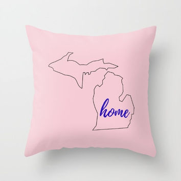 Michigan Home, State Outline, Pink and Navy, Customized Colors, Michigan Drawing, Moving Present, Housewarming Gift, Home Deocrations