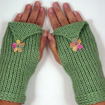 Knit Arm Warmers Knit Fingerless Gloves Knit Hand Warmers Fingerless Mittens Gauntlets Knit Wrist Warmers Sage Green With Flower Motifs