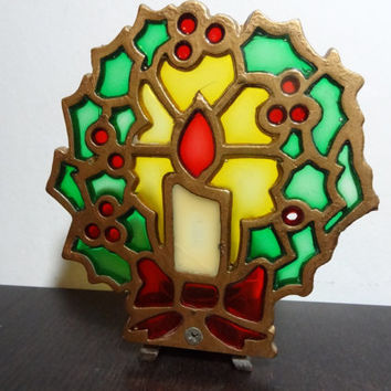 Vintage Cast Iron and Colored Glass Candle Holder with a Holly Wreath with Candle Design - Old Fashioned Christmas