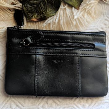 Dockers Black Leather Coin Purse Card Holder Pouch