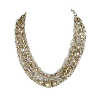 1960's Multi Strand Necklace, With Gold Chains, Taupe Faux Pearls, And Clear Glass Beads, Bridal Jewelry