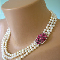 Ruby Choker, Pearl Choker, Pearl Necklace, Mother of the Bride, Bridal Jewelry, Pink Rhinestone, Pearl And Ruby Necklace, Swarovski Fuschia