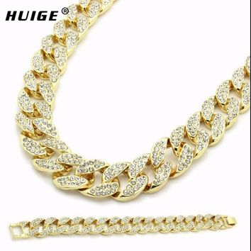 """Miami Cuban Link Chain Set Gold Color Fully Iced Out Rhinestone Hip Hop Bling 2016 Hot Sale 15mm 30"""" Necklace & 8.5"""" Bracelet"""