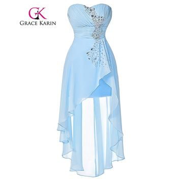 Grace Karin Short Front Long Back Evening Dress Pale Turquoise Chiffon Sweetheart Evening Gown Sequined Party Prom Dress
