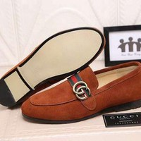 SPBEST Replica GG brand men suede loafers date formal shoes
