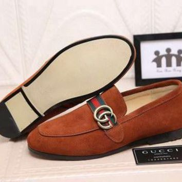 QIYIF Replica GG brand men suede loafers date formal shoes