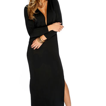 Sexy Black Plunging Cut Out Side Slit Maxi Dress