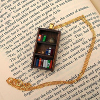 Sherlock Holmes Bookshelf Necklace - Book Jewelry by Coryographies (Made to Order)