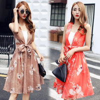 Elegant Women's Fashion V-neck Sleeveless Vintage Slim Stylish One Piece Dress [11677243023]