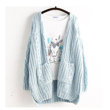 Mori Girl Spring Women Sweet Large Size Casual Cute Loose Cardigan Solid Outerwear Lolita Cute Kawaii Female Sweater Ruffle U218