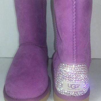 CHEN1ER Bailey Bow UGGs, Custom Bailey Bow Uggs, Pink Bailey Bow Uggs, Swarovski Uggs, Crystal