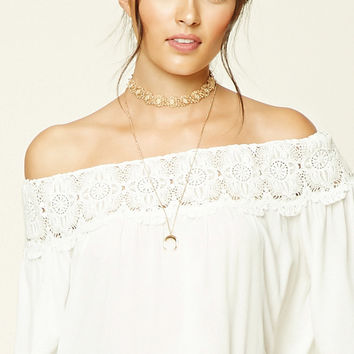Contemporary Crochet Gauze Top