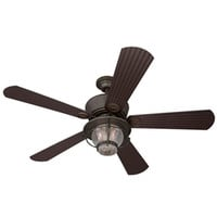 Shop Harbor Breeze Merrimack 52-in Antique Bronze Outdoor Downrod or Flush Mount Ceiling Fan with Light Kit and Remote Control at Lowes.com