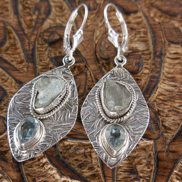 Aquamarine Rough and Blue Topaz Sterling Silver Earrings