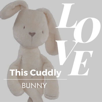 BABY BUNNY RABBIT Toy Plush Stuffed Animal Comforter Doll Sleep Aid Cuddle Snuggle Appease Nursery Decor Christmas Birthday Baby Shower