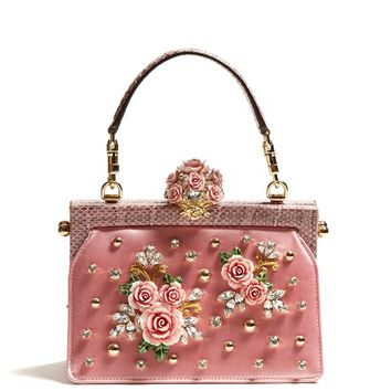 Vanda rose-embellished satin and snakeskin bag | Dolce & Gabbana | MATCHESFASHION.COM US