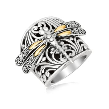 18K Yellow Gold and Sterling Silver Dragonfly and Flourishes Ring