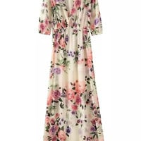 Summer Print Half-sleeve V-neck Casual Bohemia Prom Dress One Piece Dress [4917843012]