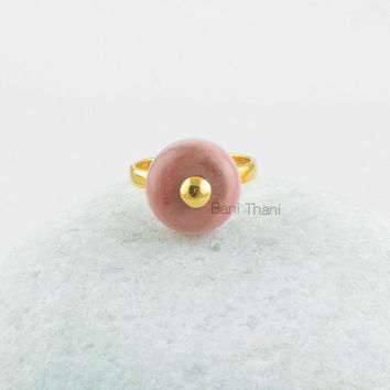 Opal Sterling Silver Ring-Pink Opal Rondelle 9x14mm Gold Vermeil Silver Ring-Handmade Gift Ring Jewelry for Christmas
