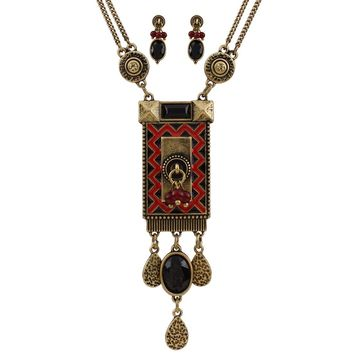 Vintage Costume Jewelry Geometric Clavicle Chain Multilayer Necklace w/ Earrings